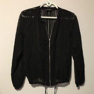 New without tag Zara organza black bomber jacket